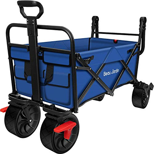 Folding Wagon Cart with Brakes Free Standing